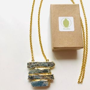 Raw Kyanite Bladed Gold Necklace